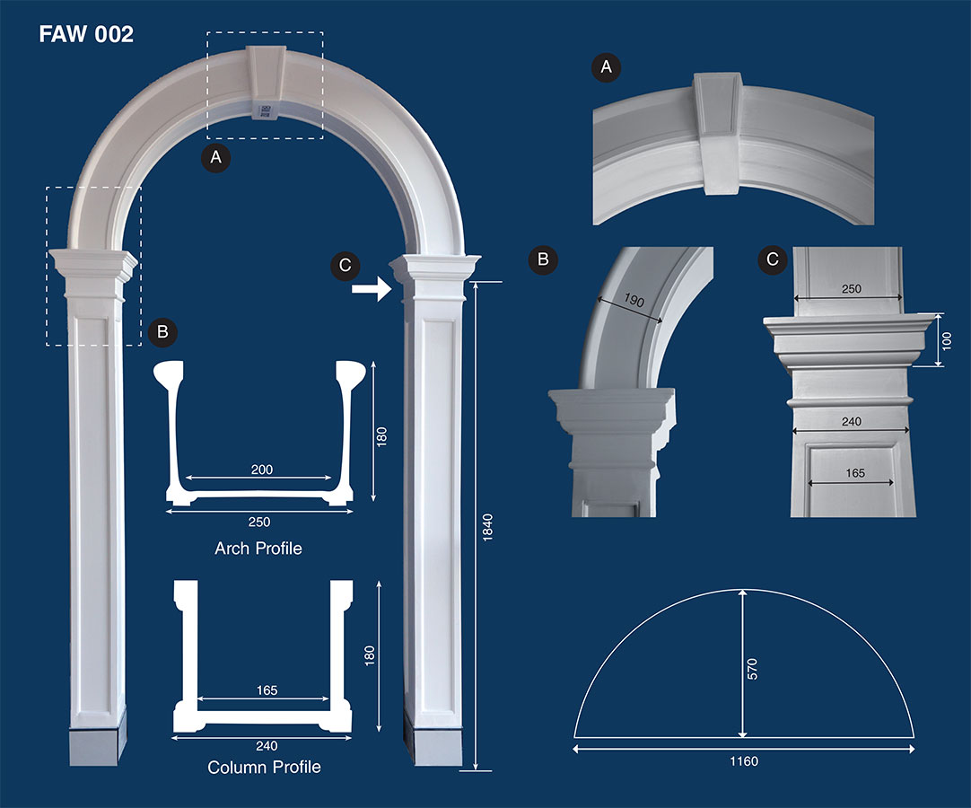 decorative plaster archways